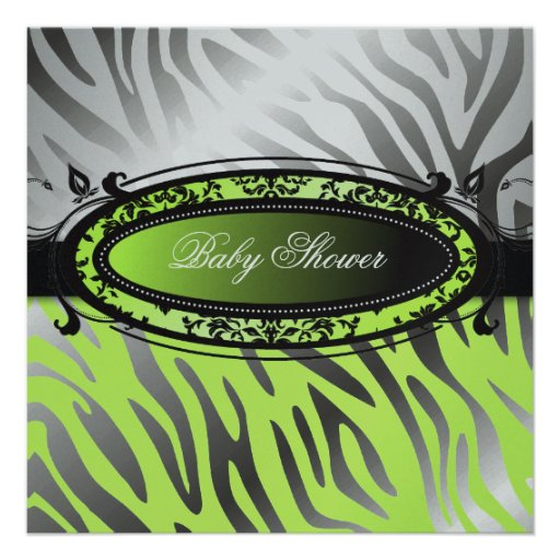 311-C'est Luxueux | Hot Momma Lime Zebra  | Baby Invitation