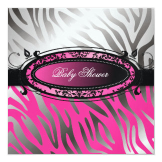 311 C'est Luxueux Hot Momma Pink Zebra  | Baby 5.25x5.25 Square Paper Invitation Card
