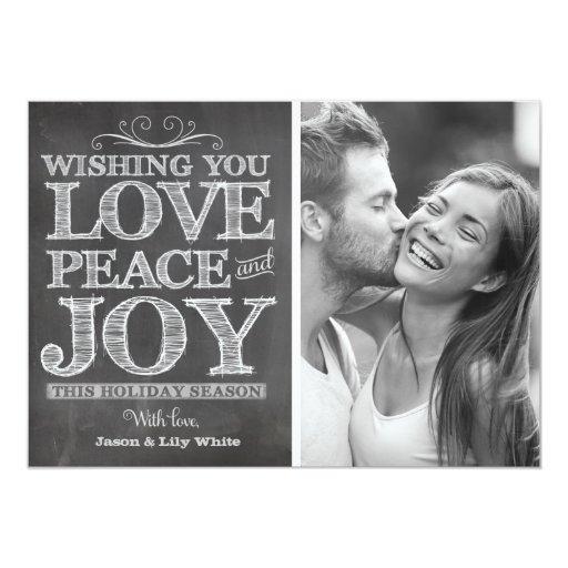 311 Chalk Board Peace Love Joy Holiday Card
