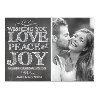 "311 Chalk Board Peace Love Joy Holiday Card 5"" X 7"" Invitation Card"