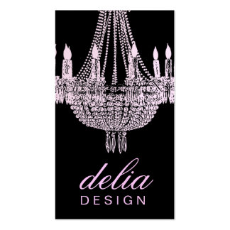 311 Chandelier Chic Pink & Black Pearl Metallic Double-Sided Standard Business Cards (Pack Of 100)
