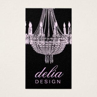 311 Chandelier Chic Pink & Black Pearl Metallic Business Card