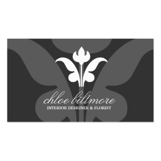 311-Charcoal Floral Flare Business Card Template