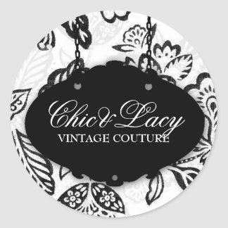 311 Chic and Lacey Black and White Classic Round Sticker