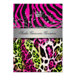 "311 Chic Animal Print Pink Lime | Metallic Gold 5"" X 7"" Invitation Card"