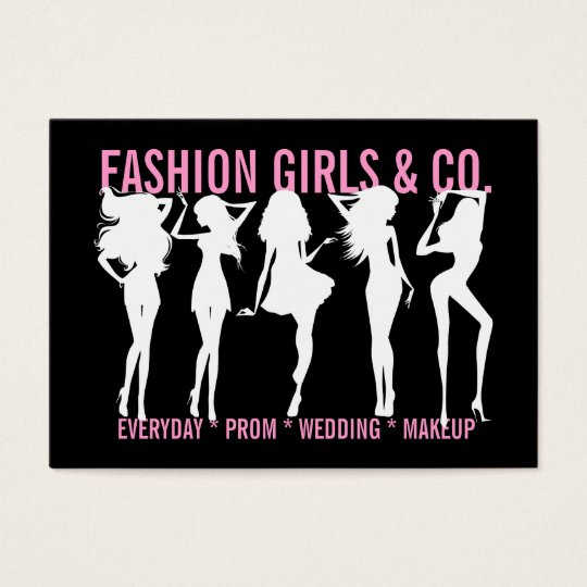 311 Chic Fashion Girls Silhouettes Black Pink Business Card