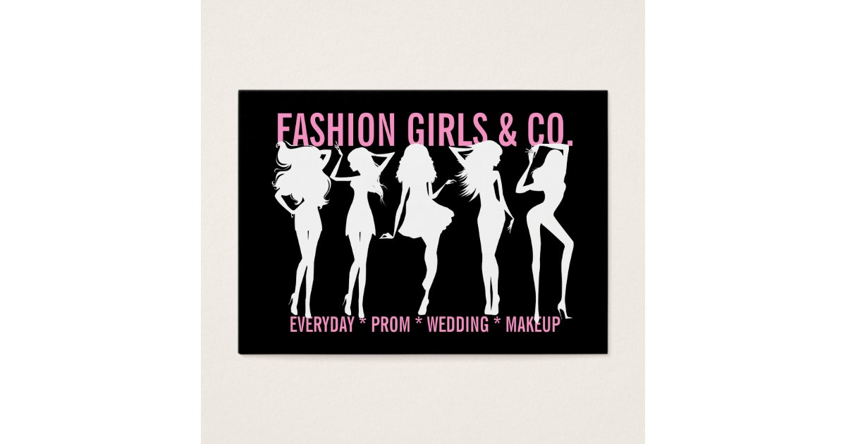 311 Chic Fashion Girls Silhouettes Black Pink Business Card ...