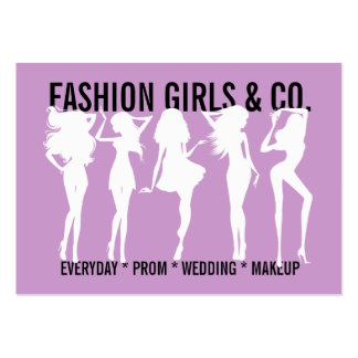 311 Chic Fashion Girls Silhouettes Lilac Purple Large Business Card