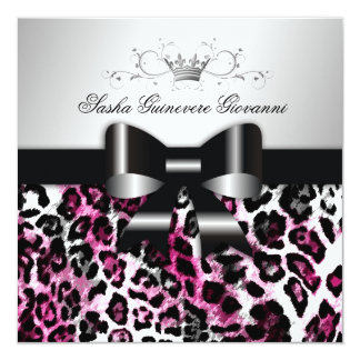 311  Chic Hot Black n Pink Leopard Bow  | Sweet 16 Card