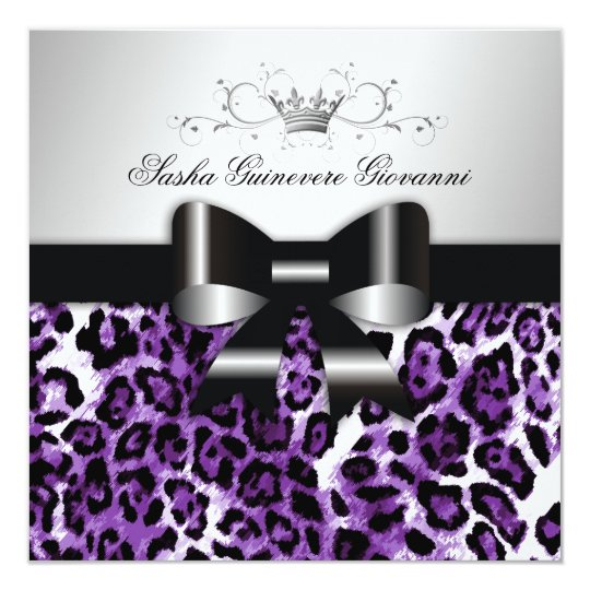 311- Chic Hot Lilac Leopard Bow  | Sweet 16 Card