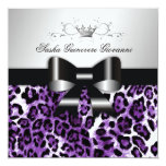 311- Chic Hot Lilac Leopard Bow  | Sweet 16 5.25x5.25 Square Paper Invitation Card