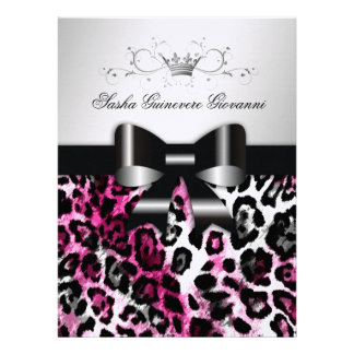 311 Chic Hot Pink Leopard Bow Metallic Personalized Invitations