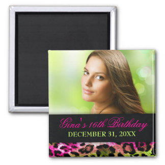 311 Chic Hot Pink Lime Leopard Bow Save the Date Magnets