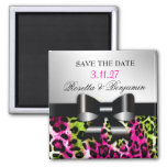 311 Chic Hot Pink Lime Leopard Bow Save the Date Fridge Magnets