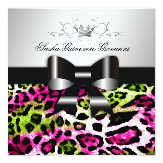 311- Chic Hot Pink Lime Leopard Bow  | Sweet 16 Card