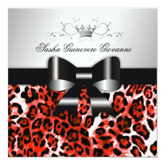 311- Chic Hot Rouge Leopard Bow  | Sweet 16 Card