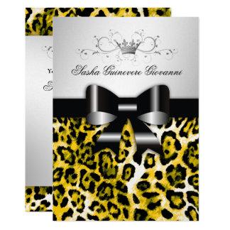 311 Chic Yellow Leopard Bow Metallic Silve Card
