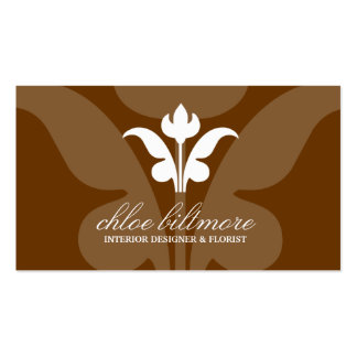 311- Chocolate Floral Flare Business Cards