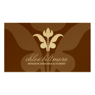 311- Chocolate Floral Flare Gold Card Business Card Template