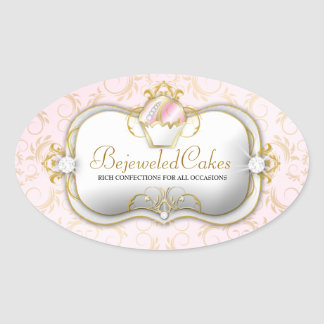 311-Ciao Bella Bejeweled apelmaza el fondo rosado Pegatina Ovalada