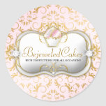 311 Ciao Bella Bejeweled Cakes Pink Background Classic Round Sticker