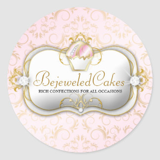 311 Ciao Bella Bejeweled Cakes | Pink Background Classic Round Sticker
