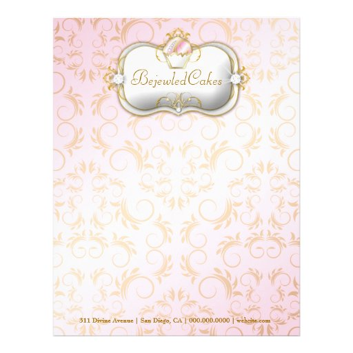 311 Ciao Bella Bejeweled Cakes | Pink Background Letterhead Template