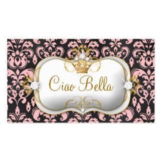 311 Ciao Bella Charcoal Peach Damask Business Card