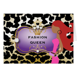311 Ciao Bella Fashionista Purple Red Hair Greeting Card