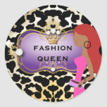 311 Ciao Bella Fashionista Purple Red Hair Round Stickers