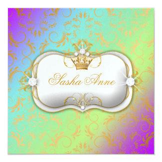 311 Ciao Bella Golden Amethyst Rainbow Kiss 5.25x5.25 Square Paper Invitation Card