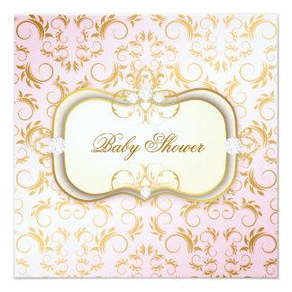 311 Ciao Bella Golden Cream Divine Pink Baby 5.25x5.25 Square Paper Invitation Card