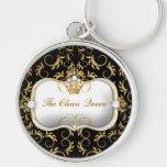 311 Ciao Bella Golden Divine Black Silver-Colored Round Keychain