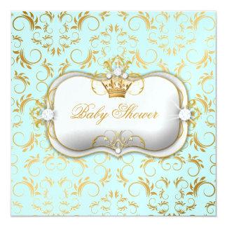 311 Ciao Bella Golden Divine Blue Baby Shower 5.25x5.25 Square Paper Invitation Card