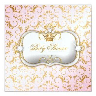 311 Ciao Bella Golden Divine Pink Baby Shower 5.25x5.25 Square Paper Invitation Card
