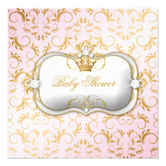 311 Ciao Bella Golden Divine Pink Baby Shower Invites
