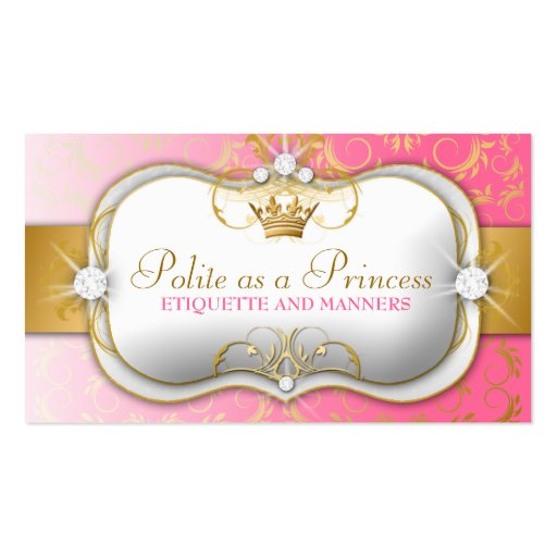 311 Ciao Bella Golden Divine Pink Business Card Templates