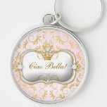311 Ciao Bella Golden Divine Pink Silver-Colored Round Keychain