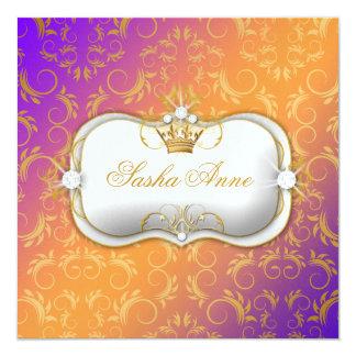 311 Ciao Bella Golden Warm Sun Burst 5.25x5.25 Square Paper Invitation Card