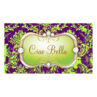 311 Ciao Bella Lime Vintage Purple Damask Double-Sided Standard Business Cards (Pack Of 100)
