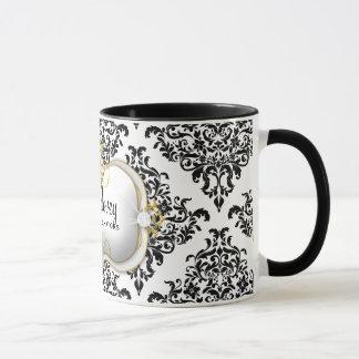 311 Ciao Bella Lovey Dovey Damask Black White Mug