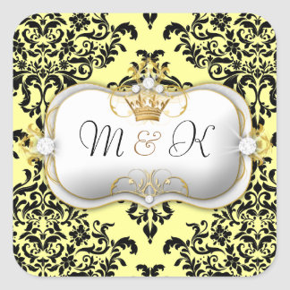 311 Ciao Bella & Lovey Dovey Damask Lemon Square Sticker