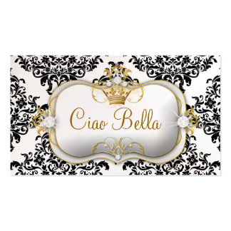 311 Ciao Bella & Lovey Dovey Damask Pearl Business Card Template