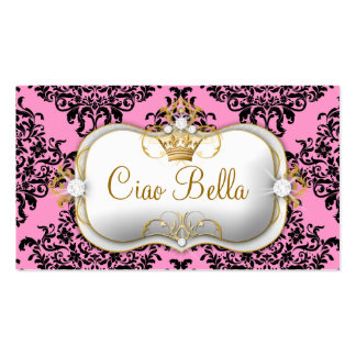 311 Ciao Bella & Lovey Dovey Damask Pink Business Card
