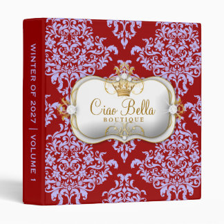 311 Ciao Bella & Lovey Dovey Damask Red Purple Binder