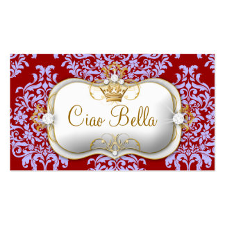 311 Ciao Bella & Lovey Dovey Damask Red Purple Business Card Template