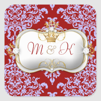 311 Ciao Bella & Lovey Dovey Damask Red Purple Square Sticker