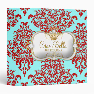 311 Ciao Bella & Lovey Dovey Damask Red Turquiose 3 Ring Binder