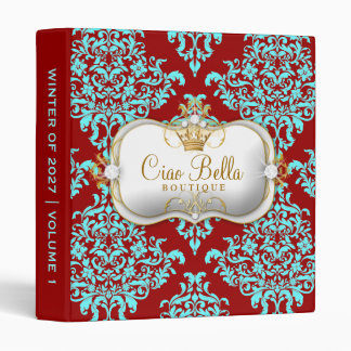 311 Ciao Bella & Lovey Dovey Damask Red Turquiose Binder