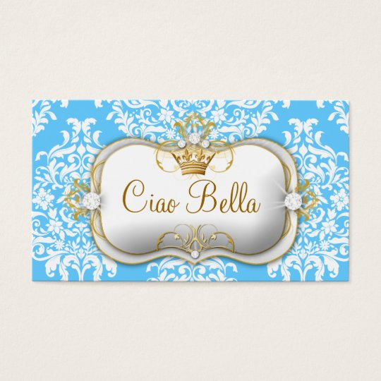311 Ciao Bella & Lovey Dovey Damask Snow Business Card